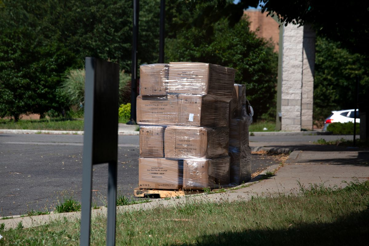Boxes of protective equipment appeared to still be sitting outside a state-run nursing home for veterans in St. Albans, Queens on Tuesday, June 29, 2021.