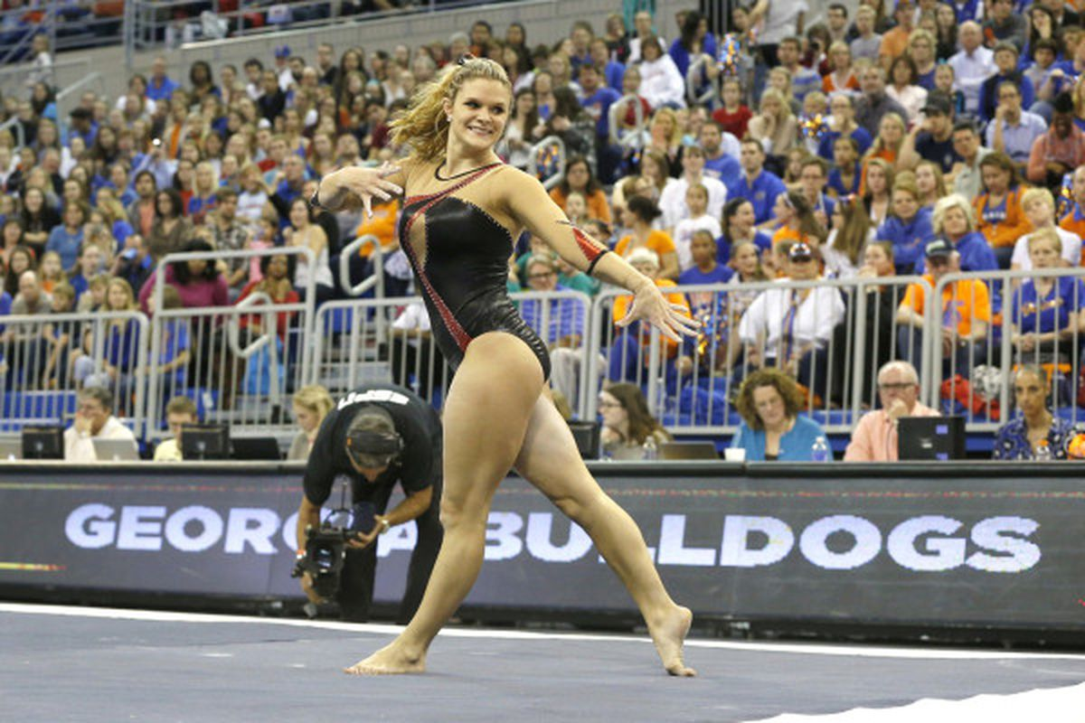 Junior Brandie Jay, who has been our best performer so far this year and was huge in this meet, on the floor