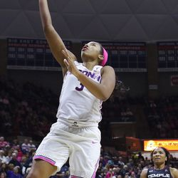 The Temple Owls take on the UConn Huskies in a women's college basketball game at Gampel Pavilion in Storrs, CT on February 9, 2019.
