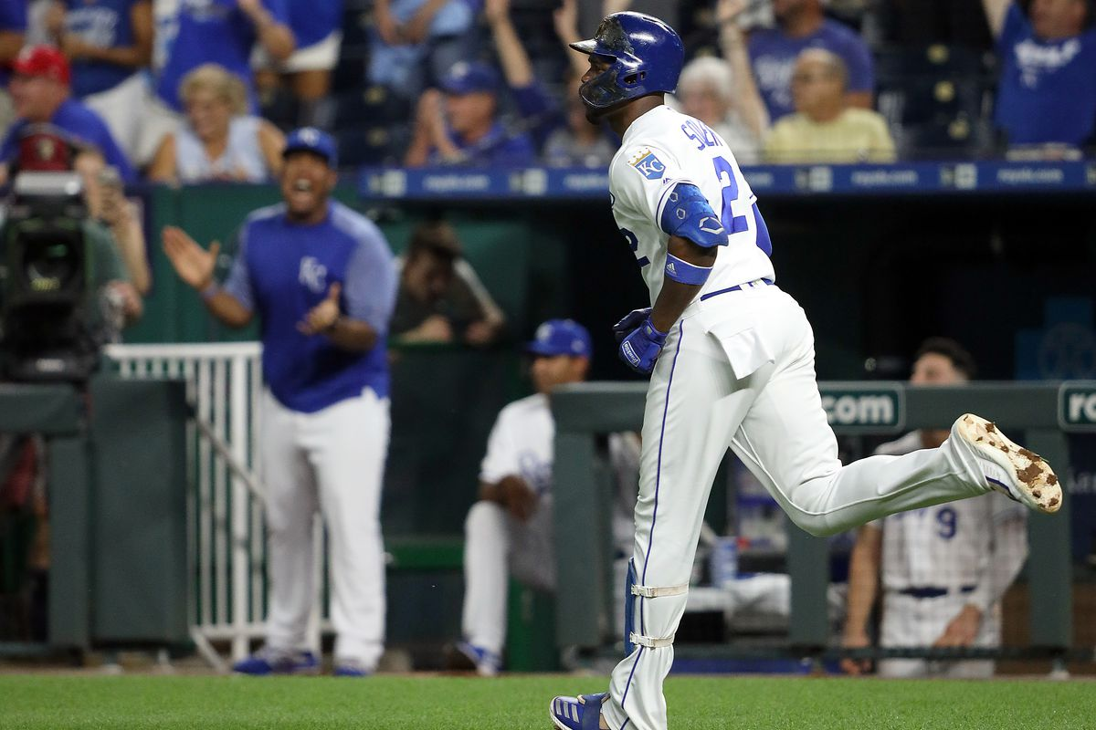 Jorge Soler #12 of the Kansas City Royals rounds the bases after hitting his 39th home run of the year, a single-season club record, during the 3rd inning of the game against the Detroit Tigers at Kauffman Stadium on September 03, 2019 in Kansas City, Mis