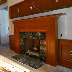 A massive fireplace is a focal point in the Gold Cup Wine Bar.