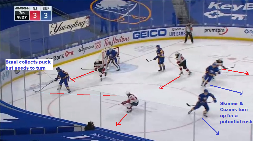 Part 4: Staal collected the puck in the right (near side) corner.
