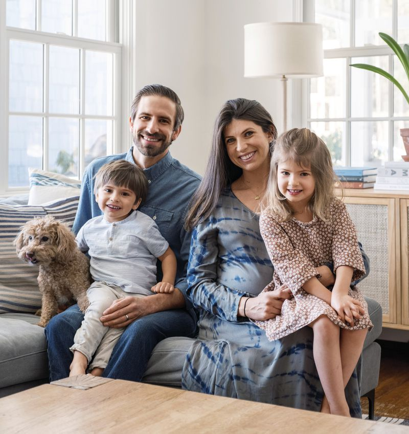 Summer 2021 House Tour, homeowner and family in the family room