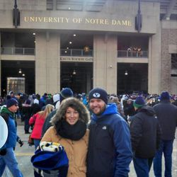 Ashley Stallings and her husband attend the BYU vs. Notre Dame game in South Bend, Ind.
