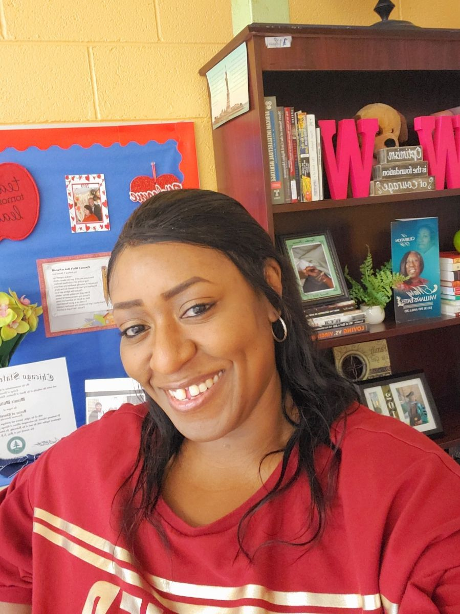 Middle school special education teacher Winnie Williams-Hall is pictured in her classroom in Chicago.