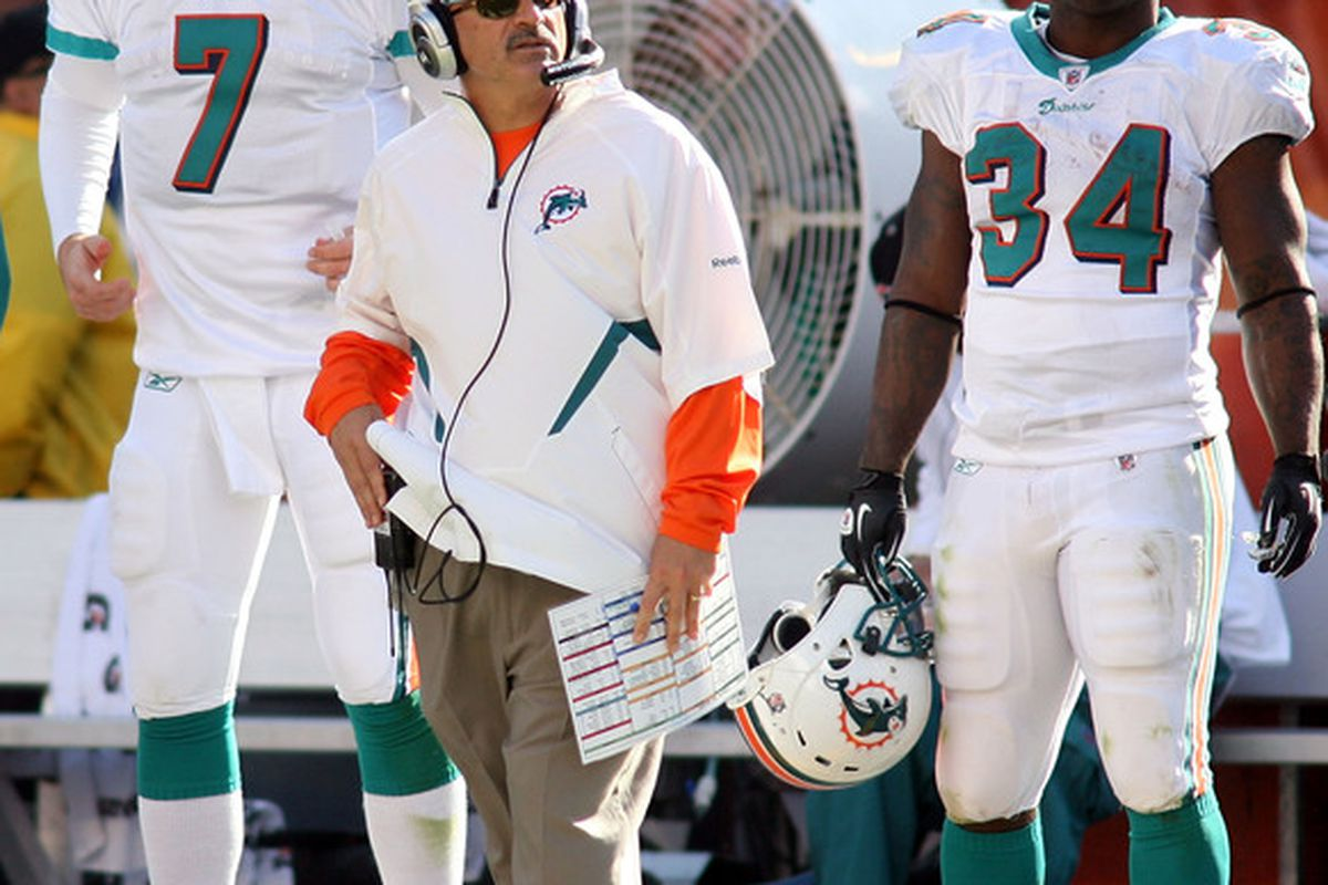 MIAMI - DECEMBER 26: (L-R) Quarterback Chad Henne #7 coach Tony Sparano and running back Ricky Williams #34.  This is probably the last time you will see these three guys on the same team, but who stays and who will go?