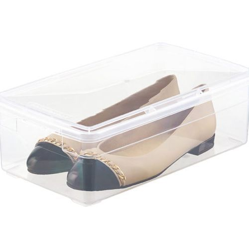 Clear lidded box with flat shoes inside.
