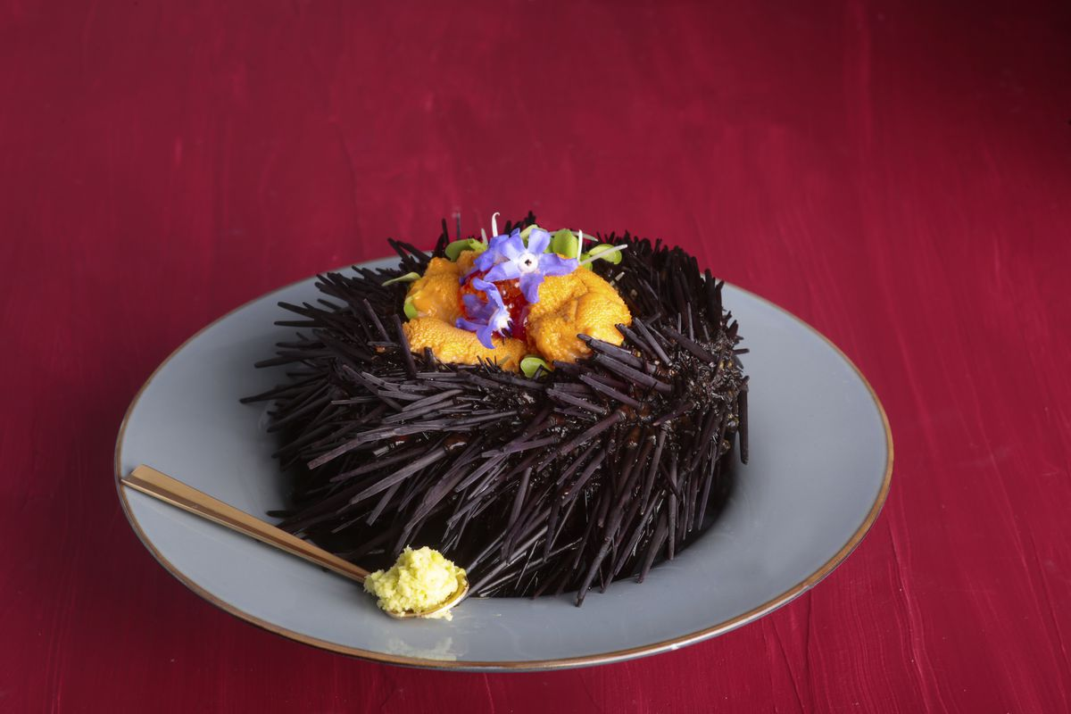 Live uni served in a shell with dashi foam, micro ginger, and a soft quail egg dumpling