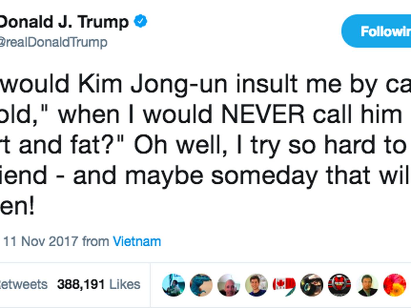 """Trump called North Korea's Kim Jong Un """"short and fat"""" in a tweet - Vox"""