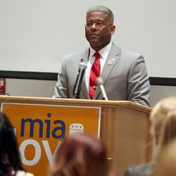 Former Congressman and retired Army Lt. Col. Allen West speaks in support of congressional hopeful Mia Love at a lunch at the Salt Lake Community College's Miller Free Enterprise Conference Center in Sandy on Wednesday, Nov. 13, 2013.