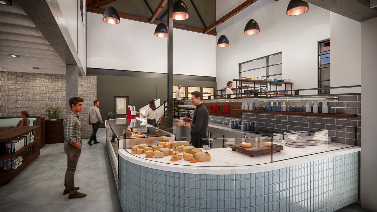 Rendering of the inside of cheese shop Capella Cheese in northeast Atlanta with a person standing at the counter ordering cheese from a sales person in a black top and pants