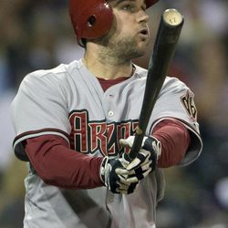 Arizona Diamondbacks' Ryan Wheeler watches his double in the fifth inning of their baseball game against the San Diego Padres Friday, Sept. 7, 2012, in San Diego. The hit drove in two runs for the Diamondbacks.