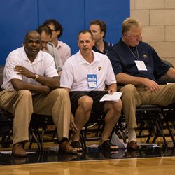 Vogel, McMillan and Bird sit by while the OKC/Indiana game winds down.