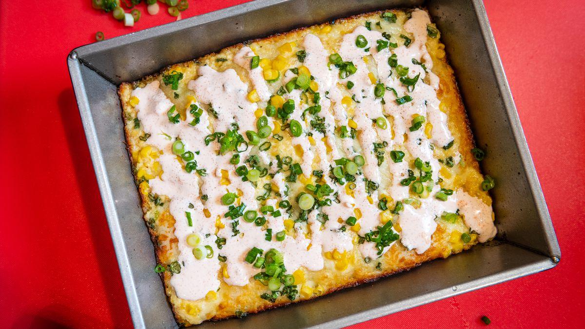 A mentaiko cream corn pizza with Wisconsin brick cheese and Kewpie mayonnaise puree from Tonari