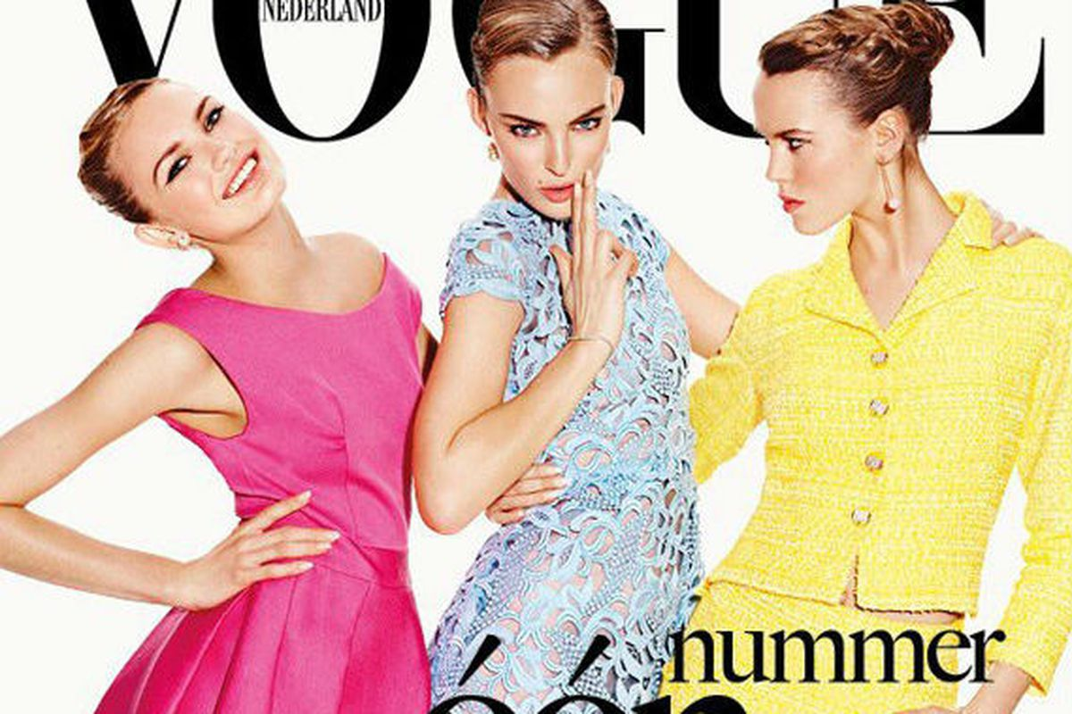 EIC Karin Swerink's first issue of Vogue Netherlands features models Ymre Stiekema, Josefien Rodermans and Romee Strijd on the cover<br>