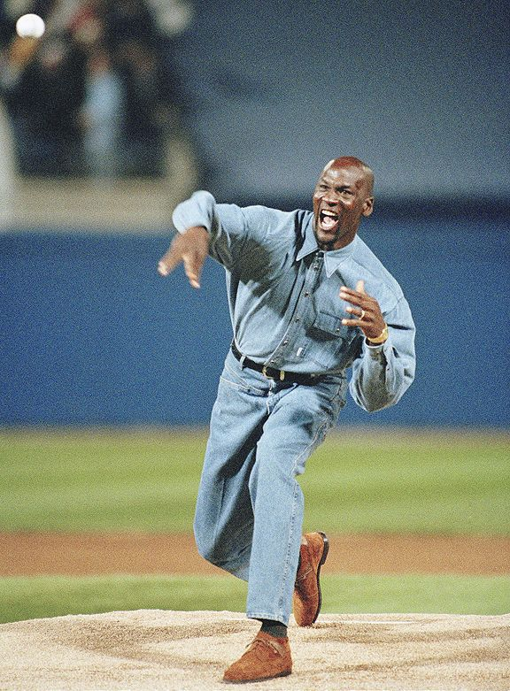 da1e78f5c56 Jordan throwing out the opening pitch at the World Series of Denim
