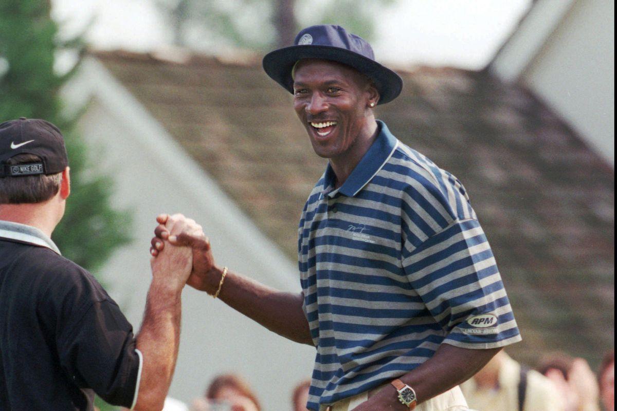 Michael Jordan during a celebrity golf tournament in 1998.