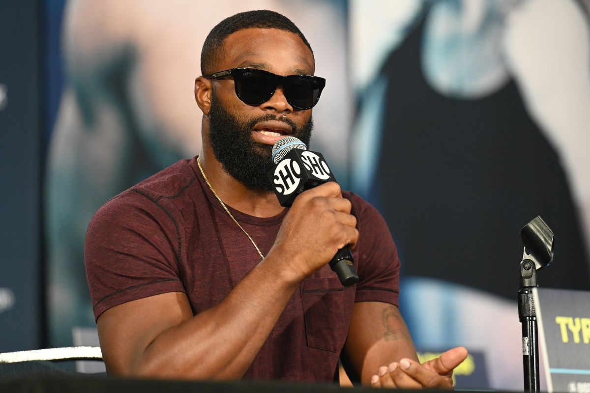 Tyron Woodley answers questions during a press conference prior to his August 29 fight with Jake Paul on August 26, 2021 in Cleveland, Ohio.