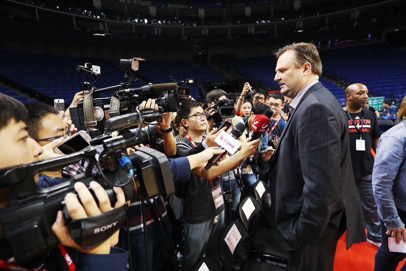 General Manager Daryl Morey of the Houston Rockets speaks to the Chinese media in 2016.
