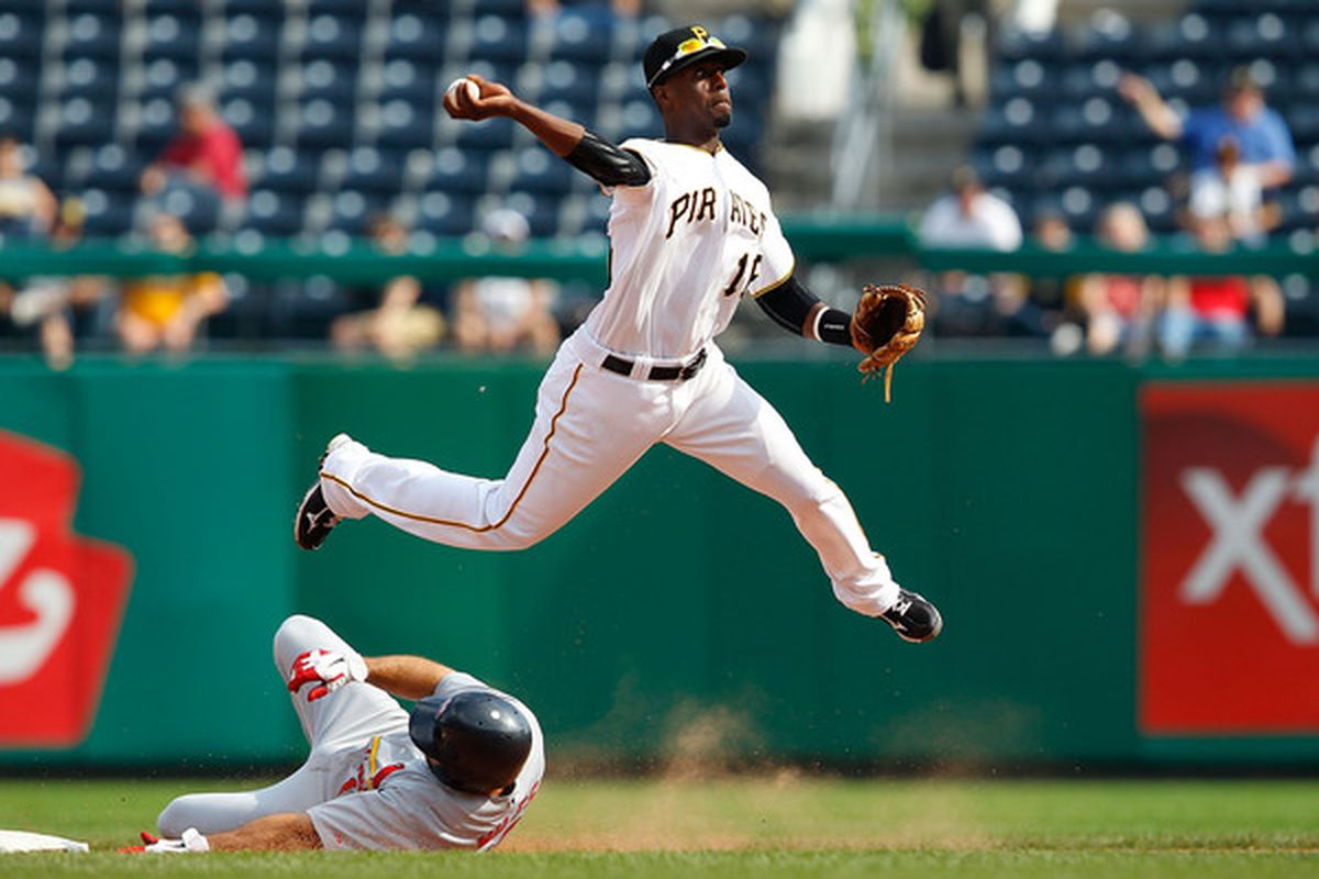PITTSBURGH - SEPTEMBER 23:  Pedro Ciriaco #16 of the Pittsburgh Pirates turns a double play against the St Louis Cardinals during the game on September 23 2010 at PNC Park in Pittsburgh Pennsylvania.  (Photo by Jared Wickerham/Getty Images)