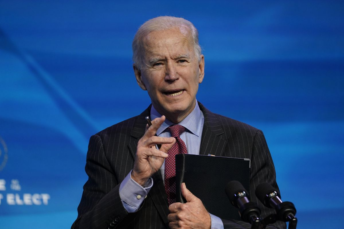 In this Jan. 8, 2021, file photo, President-elect Joe Biden speaks during an event at The Queen theater in Wilmington, Del.