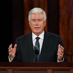 Elder Dieter F. Uchtdorf of the Quorum of the Twelve Apostles speaks during the Saturday afternoon session of the 190th Semiannual General Conference of The Church of Jesus Christ of Latter-day Saints on Oct. 3, 2020.