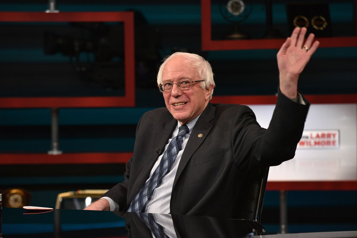 Bernie Sanders on the set of The Nightly Show