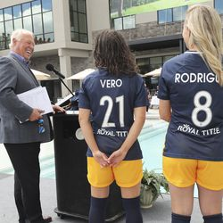Team owner Dell Loy Hansen and Utah Royals FC players Vero Boquete and Amy Rodriguez unveil new jerseys for the upcoming season in Herriman on Wednesday, June 17, 2020.