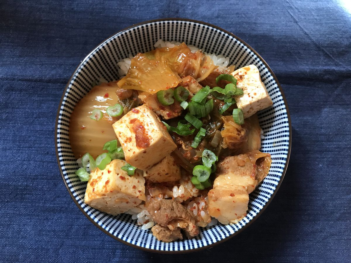 Overhead picture of a bowl of jjigae.