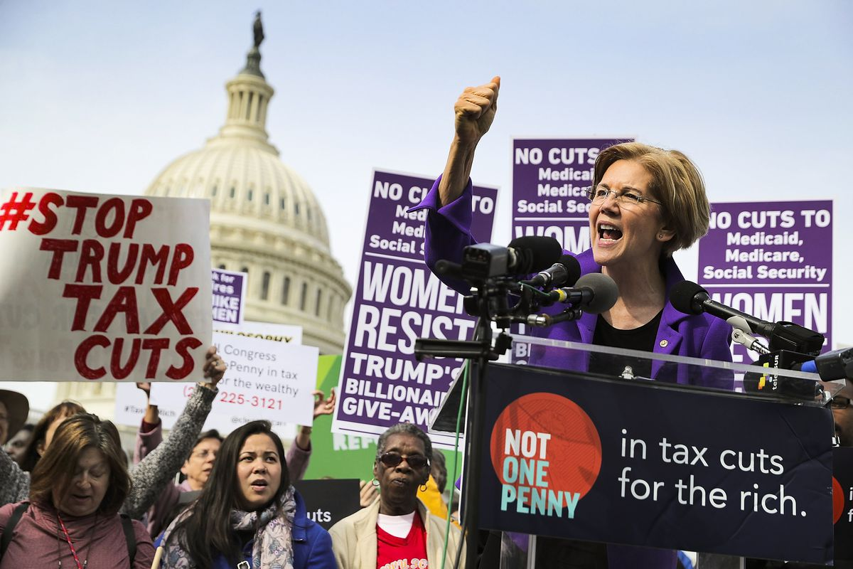 Sen. Elizabeth Warren (D-MA) addresses a rally against the Republican tax plan outside the US Capitol on November 1, 2017.
