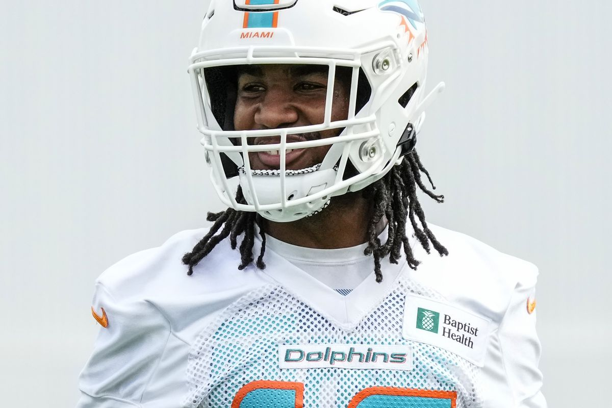 Wide Receiver Jaylen Waddle #17 of the Miami Dolphins looks on during Training Camp at Baptist Health Training Complex on August 02, 2021 in Miami Gardens, Florida.