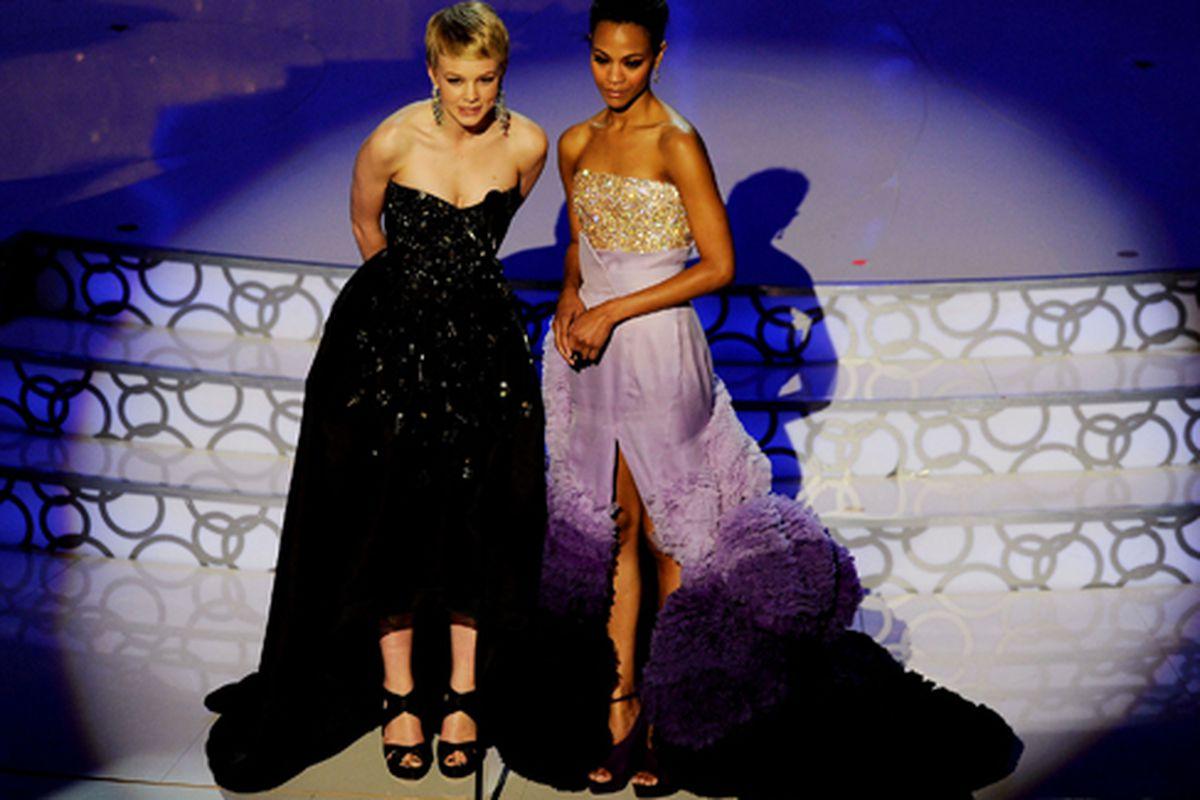 "Carey Mulligan's Prada and Zoe Saldana's Givenchy: Thoughts? Via <a href=""http://www.celebuzz.com/first-look-photos-g150701/"">Celebuzz</a>"