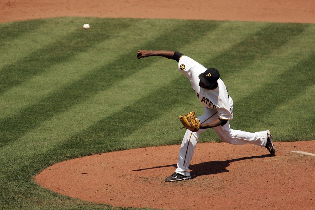 PITTSBURGH, PA - JUNE 05:  James McDonald #53 of the Pittsburgh Pirates makes a delivery against the Philadelphia Phillies during the game on June 5, 2011 at PNC Park in Pittsburgh, Pennsylvania.  (Photo by Justin K. Aller/Getty Images)