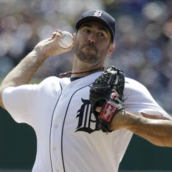 Detroit Tigers starting pitcher Justin Verlander (35) throws during the second inning of a baseball game against the Boston Red Sox in Detroit, Thursday, April 5, 2012.