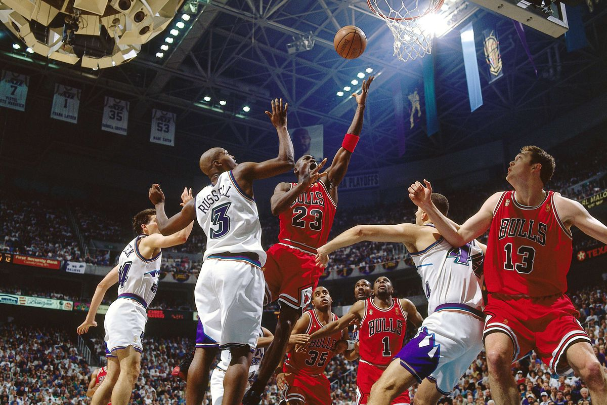 Michael Jordan of the Chicago Bulls shoots a jumpshot against the Utah Jazz during Game four of the 1997 NBA Finals at the Delta Center on June 8, 1997 in Salt Lake City, Utah.