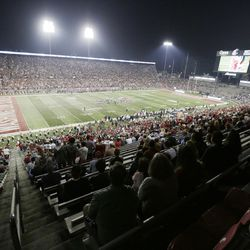 Fans watch the first half of an NCAA college football game between Washington State and Utah State, Saturday, Sept. 4, 2021, at Martin Stadium in Pullman, Wash.