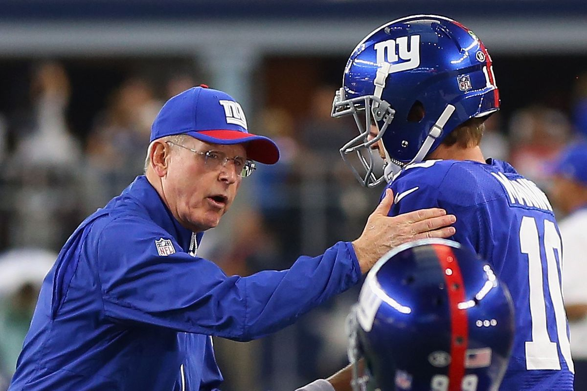 Tom Coughlin greets Eli Manning prior to Sunday's game