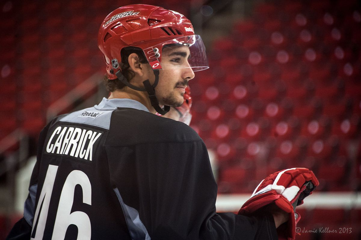 Trevor Carrick, pictured at Tuesday's on-ice drills at the Hurricanes Development Camp, said Wednesday's power skating session was fun and informative.