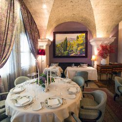 """<b>Bouley</b>: Fancy, but cozy. If you can't make it to the restaurant, you can find the stained version of these chairs on <a href=""""http://www.ebay.com/itm//Chairs-Arm-Chairs-Dining-Chairs-Bouley-Restaurant-NY-Comfortable-Chair-/251060984410"""">Ebay</a> fo"""
