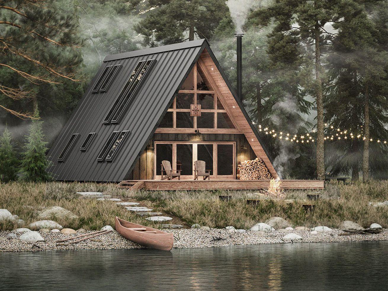 DIY a modern A-frame house with $2K blueprints