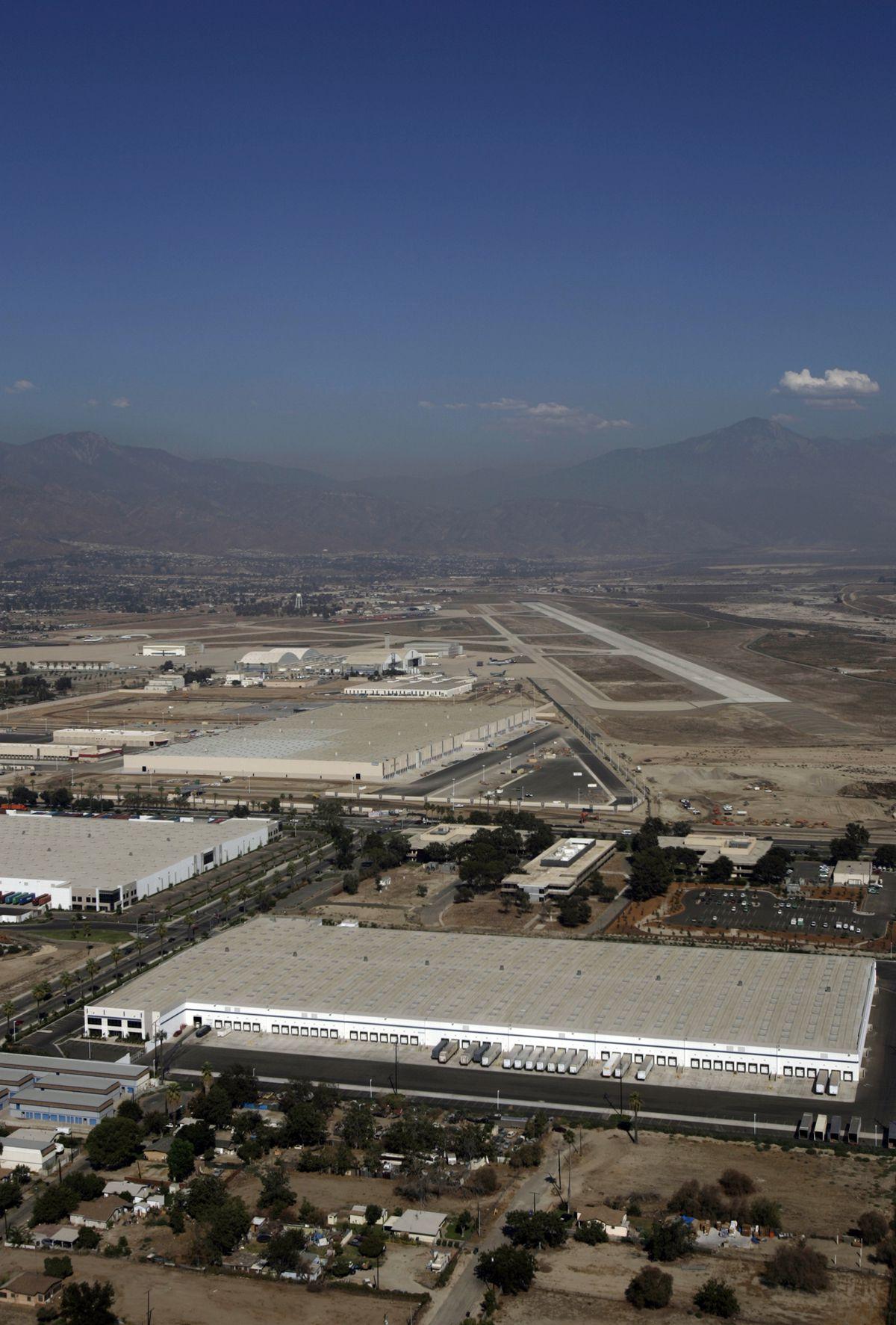 San Bernardino, Sept.07, 2007. An aerial view of San Bernardino International Airport which ha