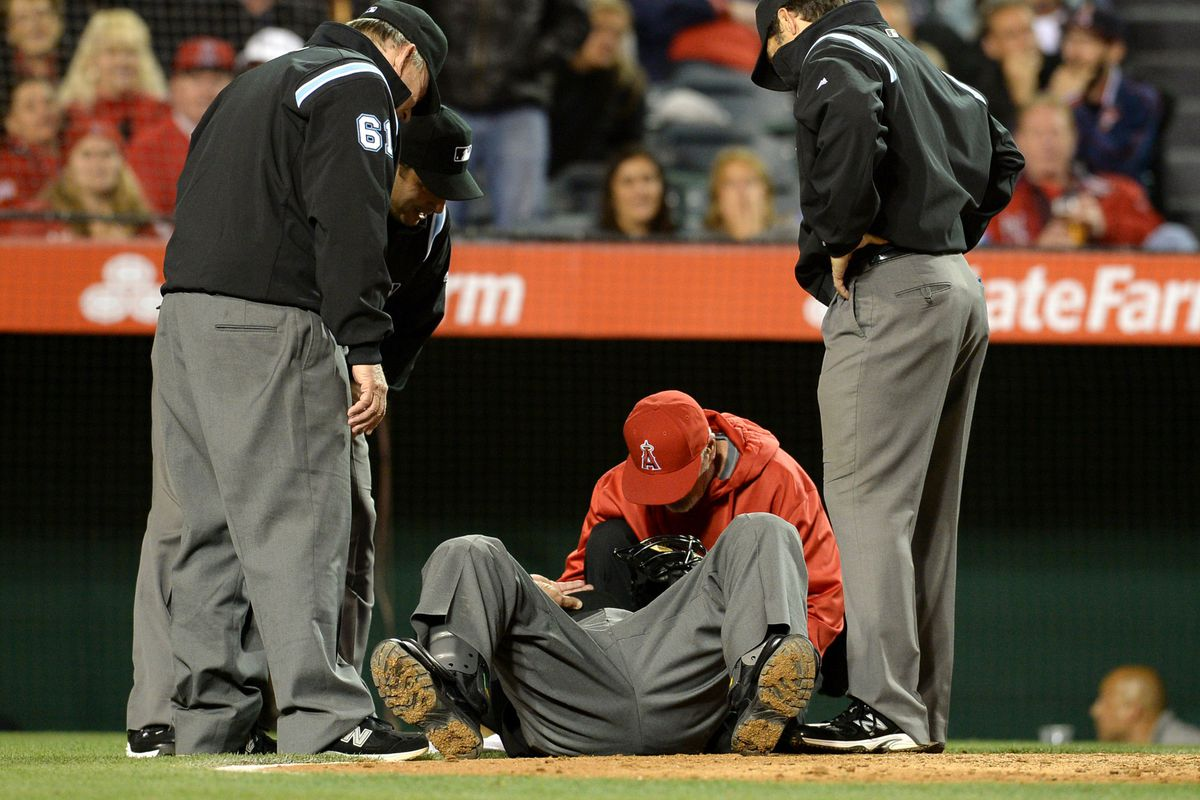 The ump got hit in the balls harder than any Angel hit a ball tonight