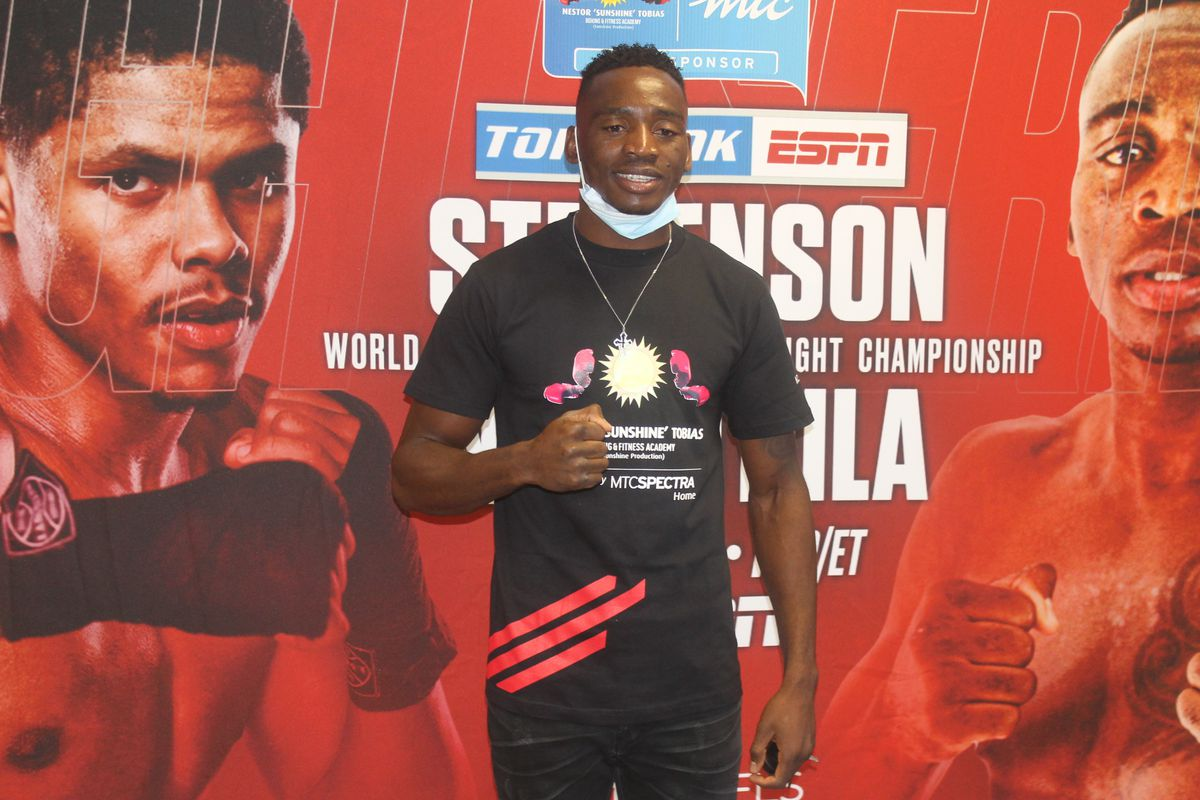Namibian boxer Jeremiah 'Lowkey' Nakathila posed at an event in Windhoek on May 10, 2021. Nakathila will fight American Shakur Stevenson for the World Boxing Organization interim junior lightweight title in Las Vegas on June 12. (Photo by Tirivangani Masawi/Xinhua via Getty Images)