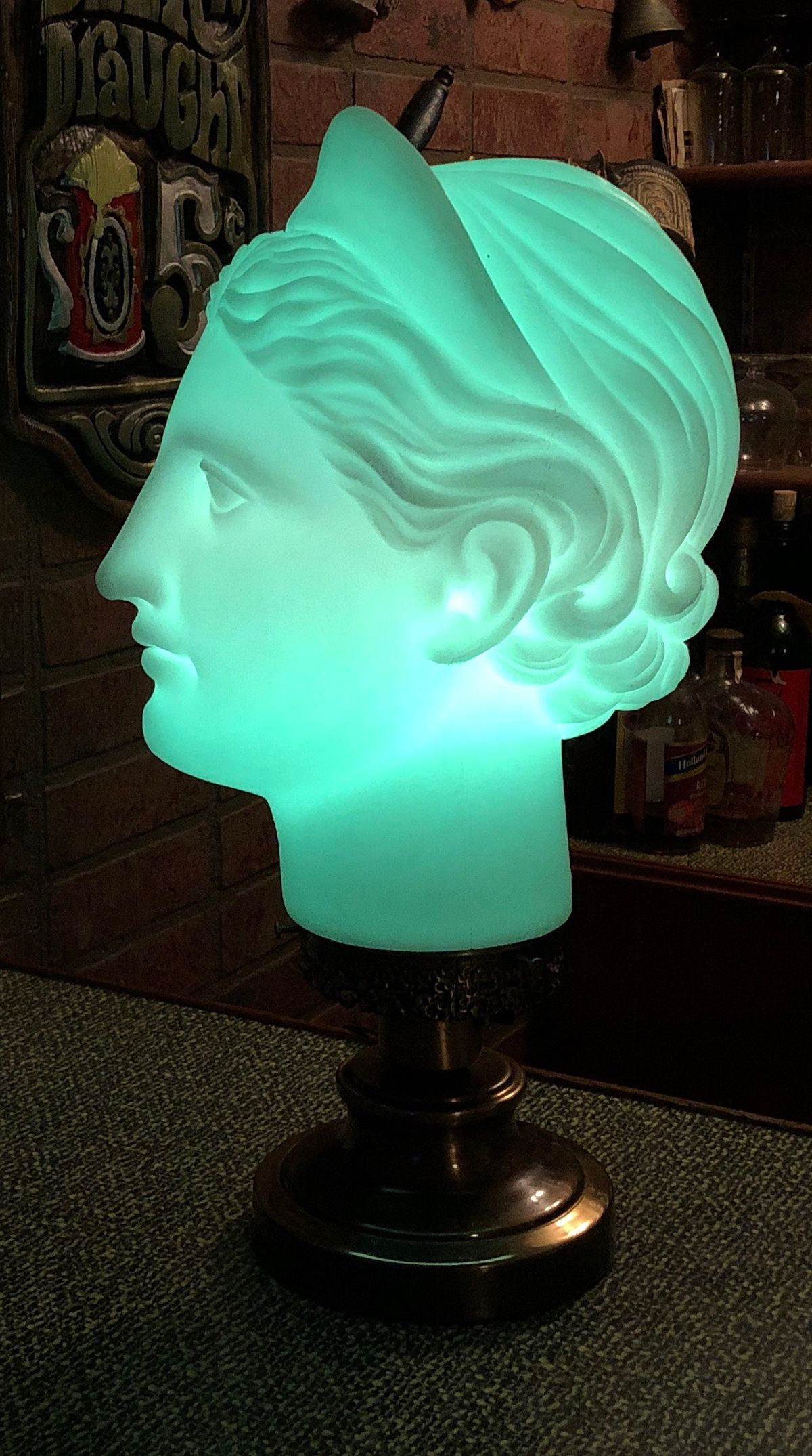 William Lange has also designed a lamp that is the head of a Grecian statue.