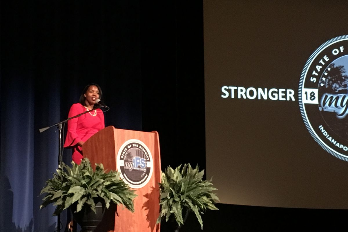 """Aleesia Johnson outlines her priorities in her first """"State of the District"""" address on Oct. 9, 2019, at Shortridge High School."""