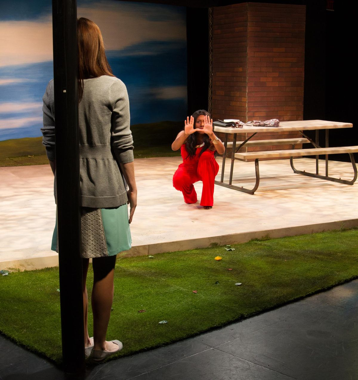 """Abigail Pierce (left) and Ginneh Thomas in the Strawdog Theatre production of Robert O'Hara's """"Barbecue.""""   Heath Hays"""