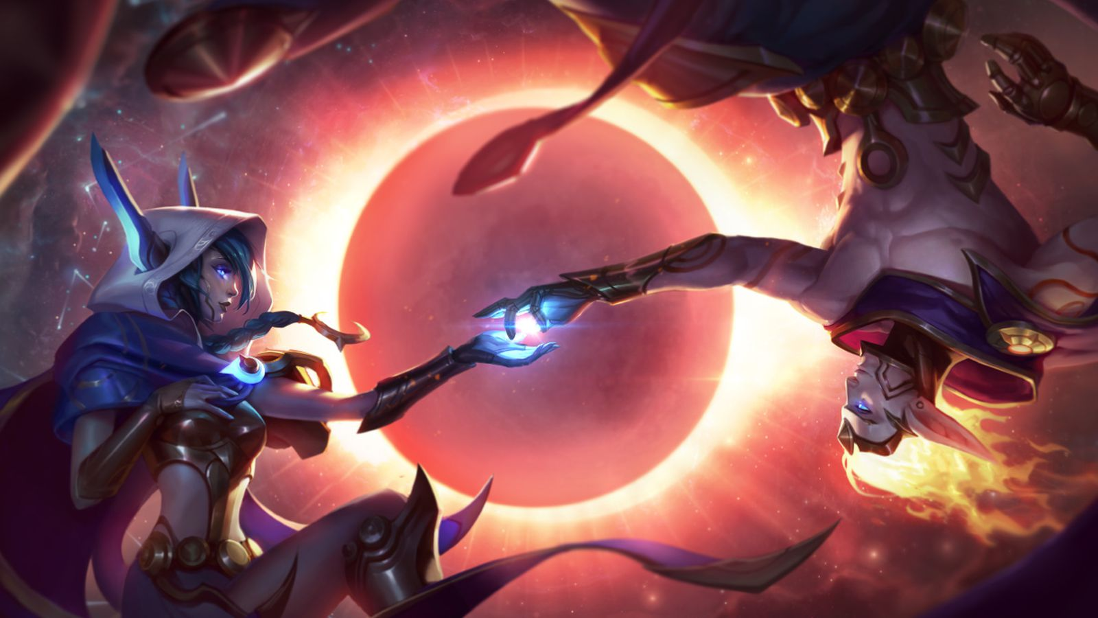Xayah And Rakan Release Skins Cosmic Dusk And Dawn Join Cosmic