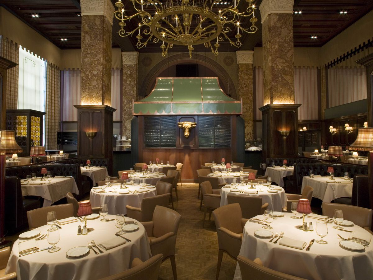 interior of fancy restaurant with high ceilings