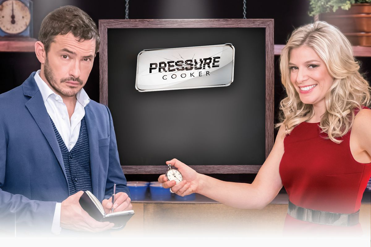 Giles Coren and Anne-Marie Withenshaw of the new food show Pressure Cooker.