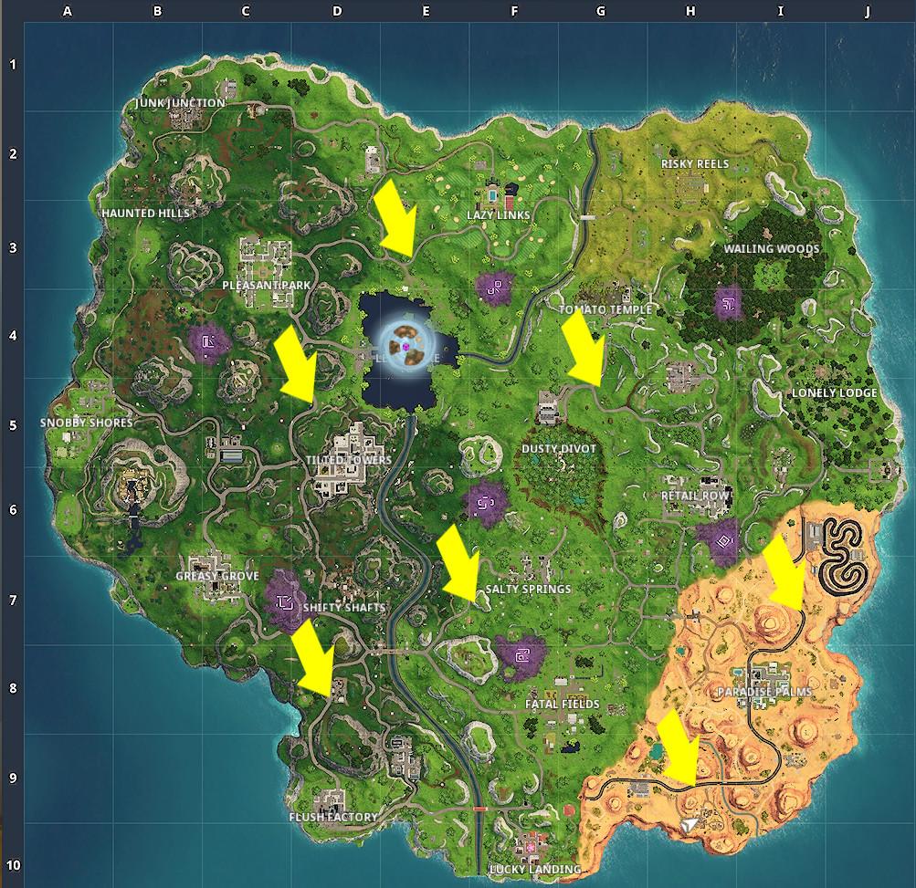 Radar Sign locations, Fortnite